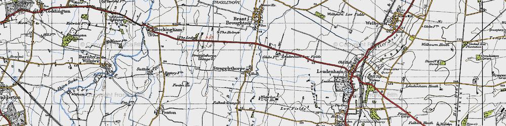 Old map of Leadenham Low Fields in 1946