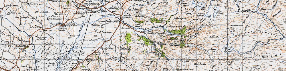 Old map of Afon Fflûr in 1947