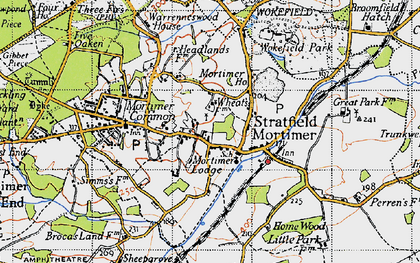 Old map of Stratfield Mortimer in 1945