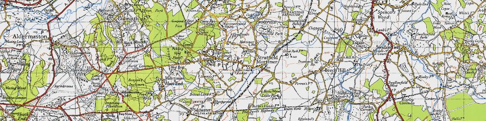 Old map of Wokefield Park in 1945