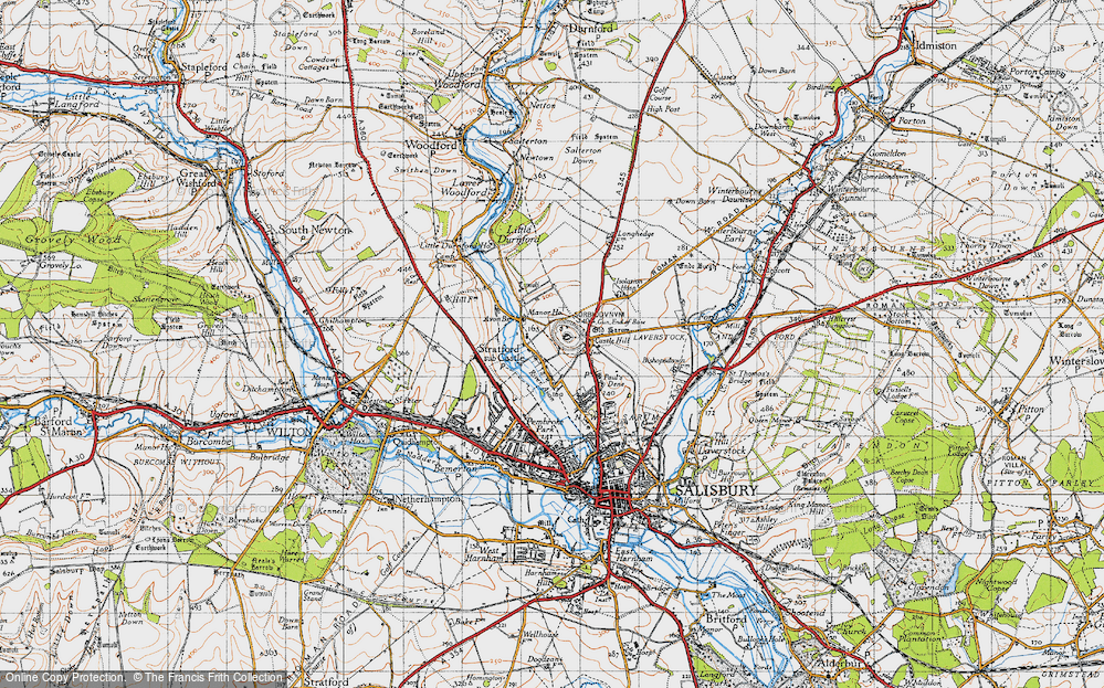 Old Map of Historic Map covering Avon Br in 1940