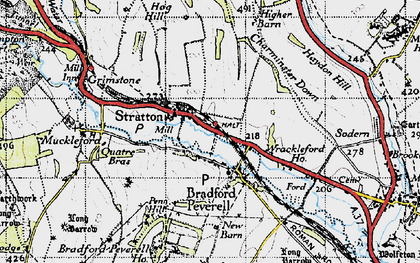 Old map of Wrackleford in 1945