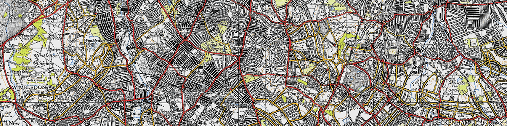 Old map of Streatham in 1945