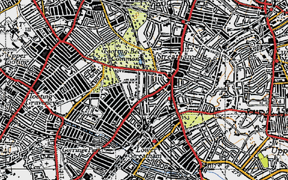 Old map of Tooting Bec Common in 1945