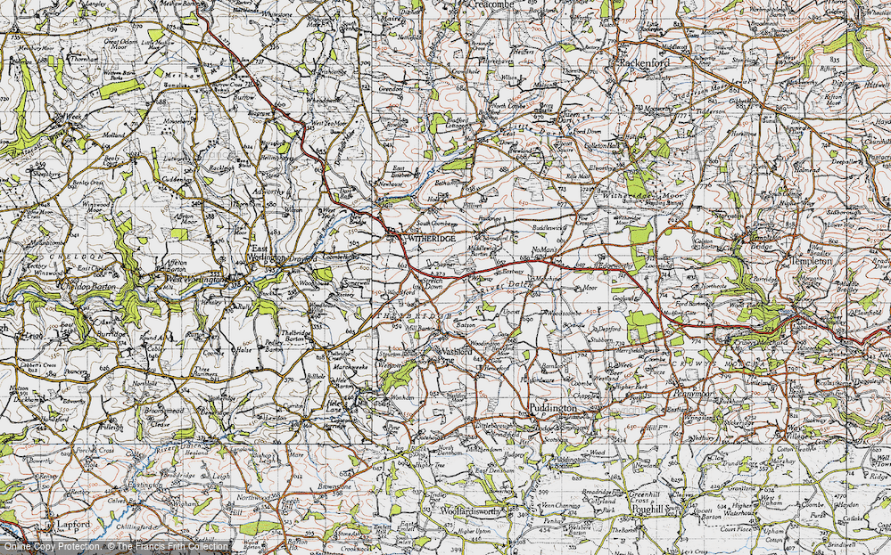 Old Map of Historic Map covering Woodington in 1946