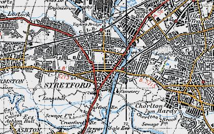 Old map of Stretford in 1947