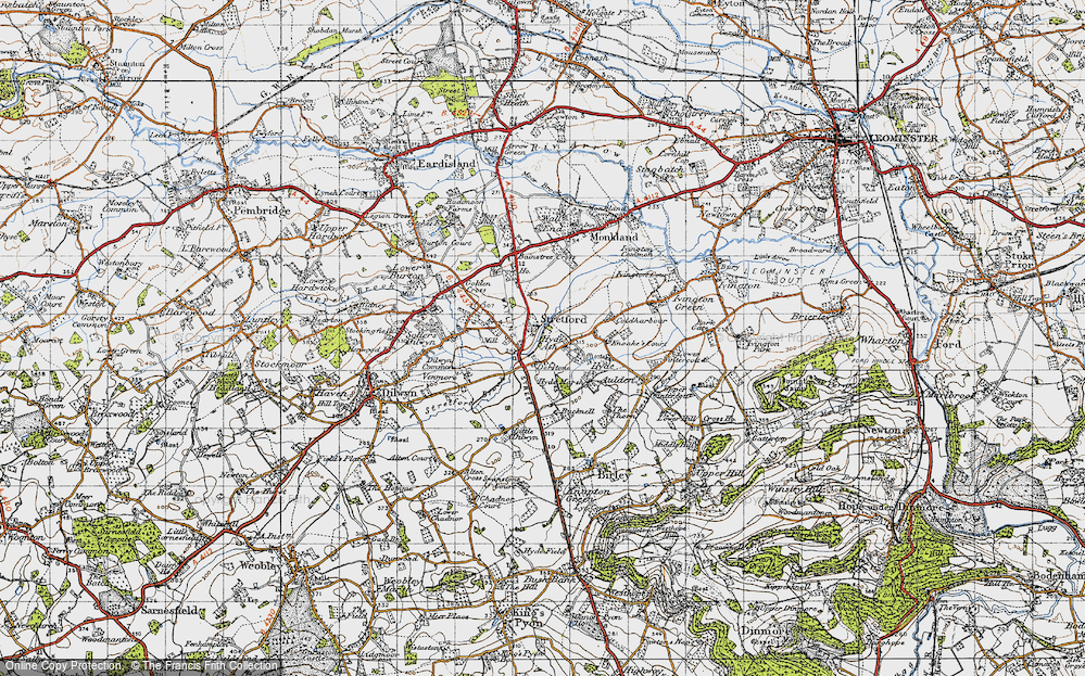 Old Map of Historic Map covering Bainstree Cross in 1947