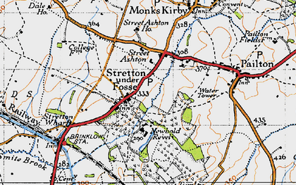 Old map of Stretton under Fosse in 1946