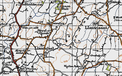 Old map of Afon Alaw in 1947