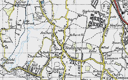 Old map of Stubbington in 1945