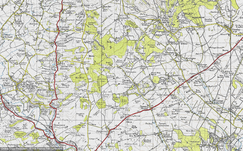 Old Map of Historic Map covering Ashmore Bottom in 1940