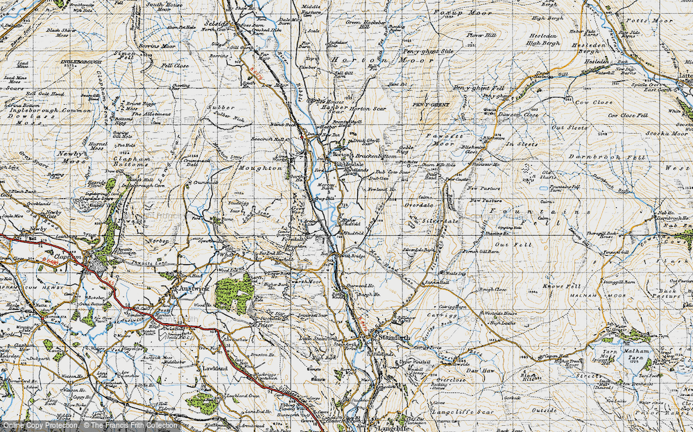 Old Map of Historic Map covering Larch Tree Hole in 1947
