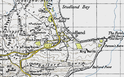 Old map of Ballard Down in 1940