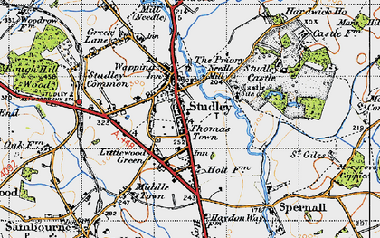 Old map of Studley in 1947