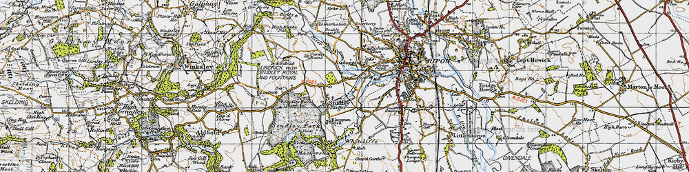 Old map of Aismunderby Village in 1947