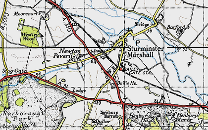 Old map of Sturminster Marshall in 1940