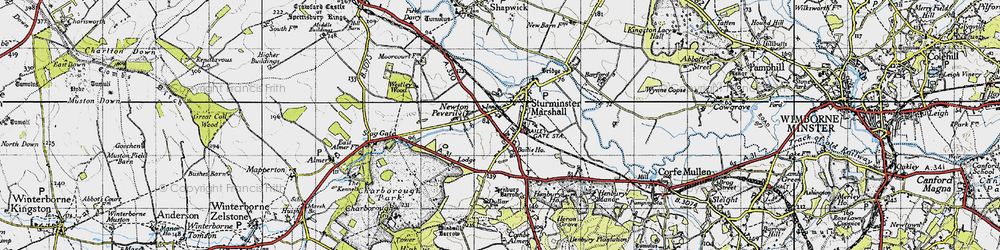 Old map of White Mill in 1940