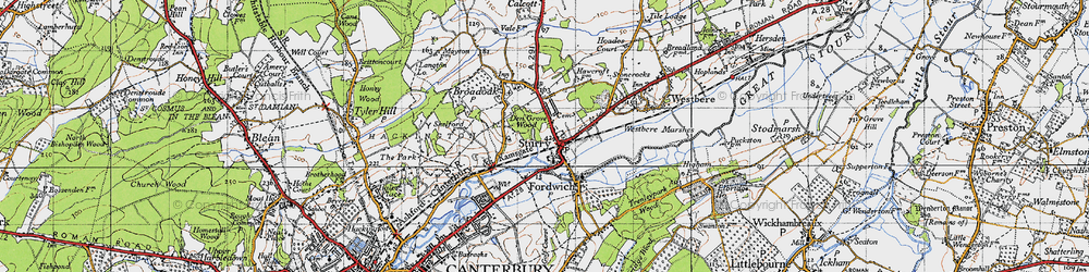 Old map of Sturry in 1947