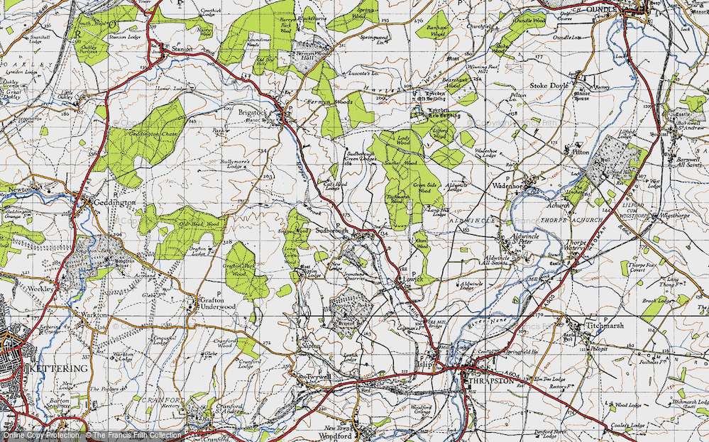 Old Map of Historic Map covering Lilford Wood in 1946