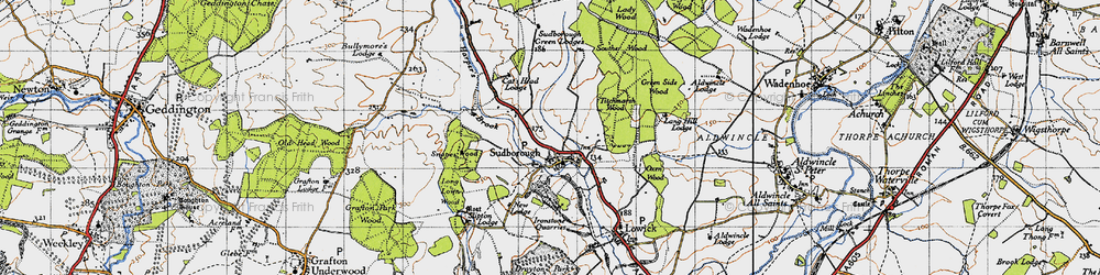Old map of Titchmarsh Wood in 1946