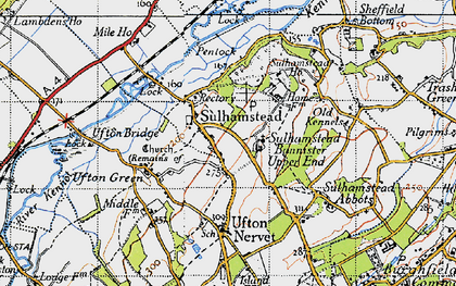 Old map of Sulhamstead in 1945
