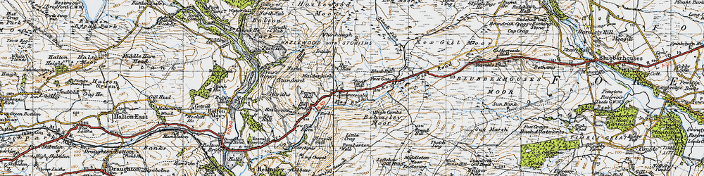 Old map of Whinhaugh in 1947