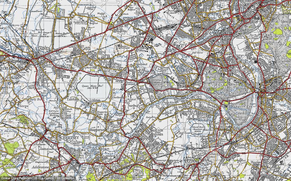 Old Map of Sunbury, 1940 in 1940