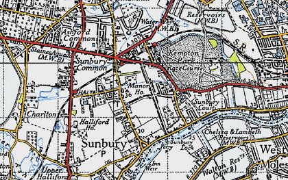 Old map of Sunbury in 1940