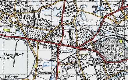 Old map of Sunbury Common in 1940