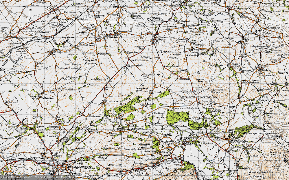 Old Map of Historic Map covering Linskeldfield in 1947