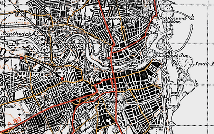 Old map of Sunderland in 1947