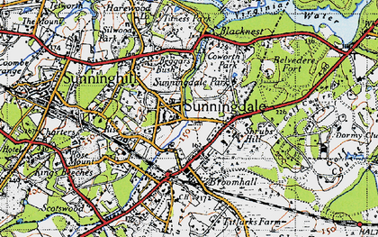 Old map of Sunningdale in 1940