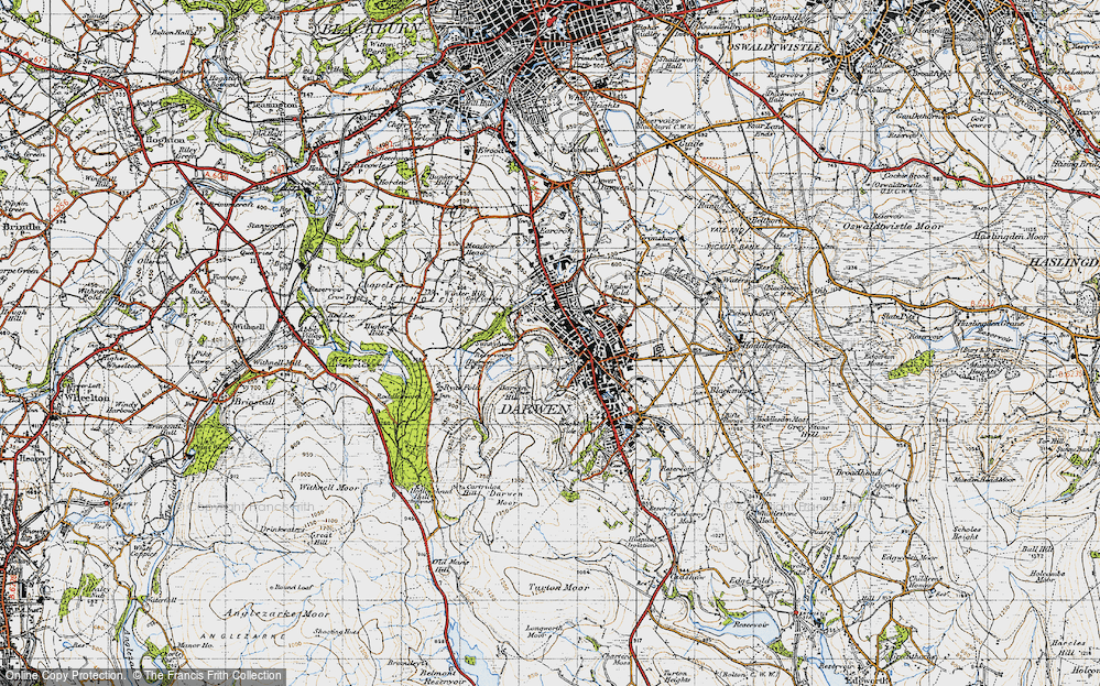 Old Map of Historic Map covering Blackburn with Darwen in 1947
