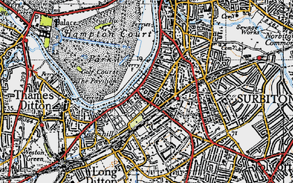Old map of Surbiton in 1945
