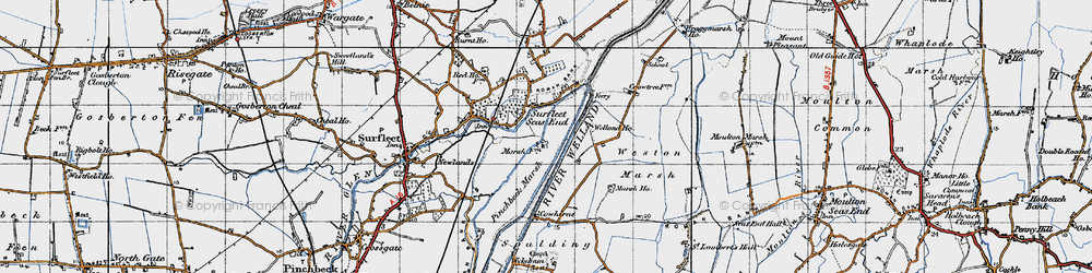 Old map of Weston Marsh in 1946