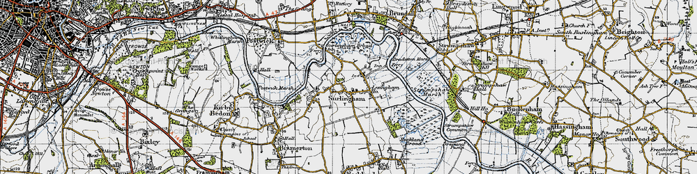 Old map of Surlingham in 1945