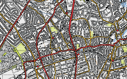 Old map of Sutton in 1945