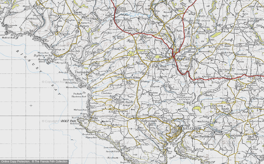 Old Map of Historic Map covering Bagton in 1946