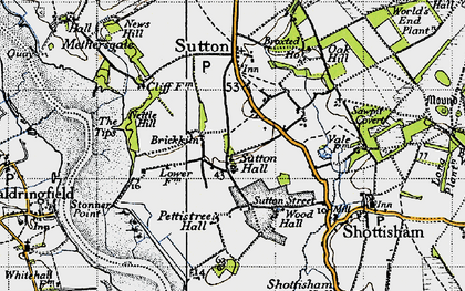 Old map of Tips, The in 1946