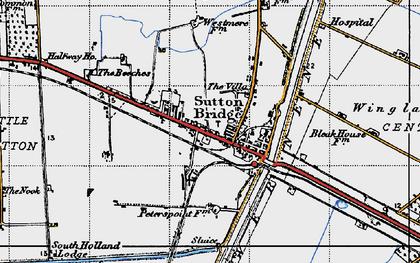 Old map of Sutton Bridge in 1946