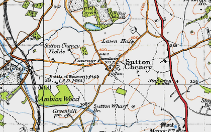 Old map of Ambion Hill in 1946