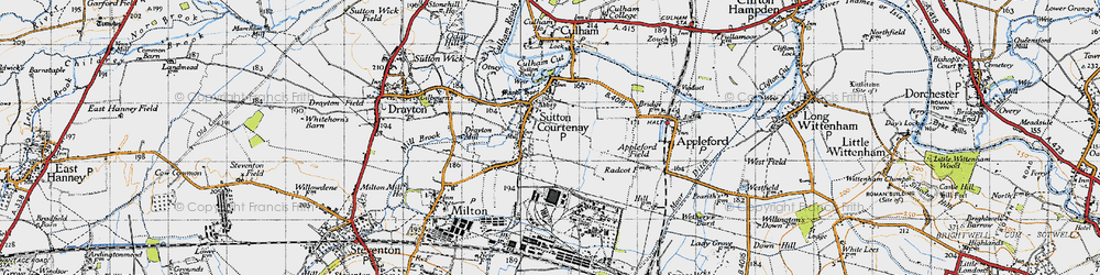 Old map of Sutton Courtenay in 1947
