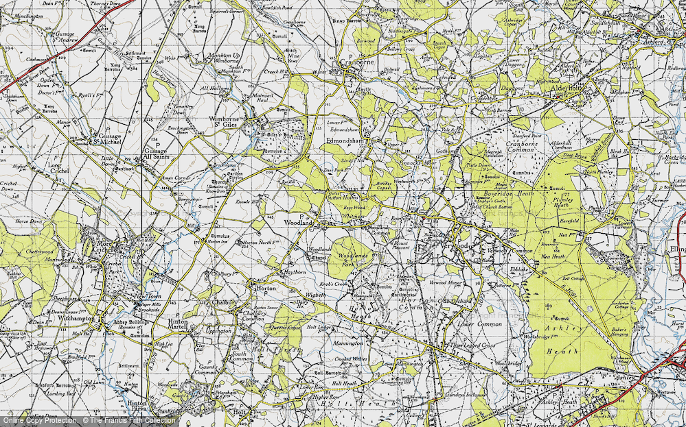 Old Map of Historic Map covering Woodlands Park in 1940