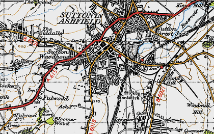 Old map of Sutton In Ashfield in 1947