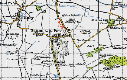 Old map of Sutton-on-the-Forest in 1947