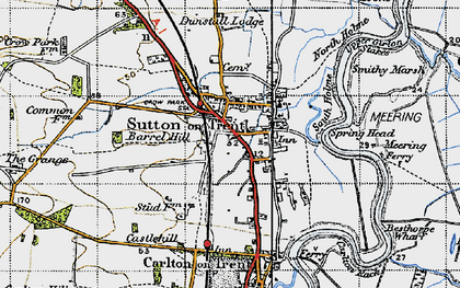 Old map of Sutton on Trent in 1947