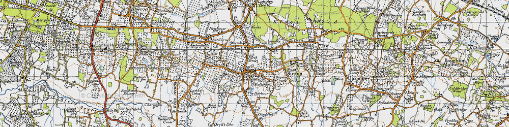 Old map of Sutton Valence in 1940