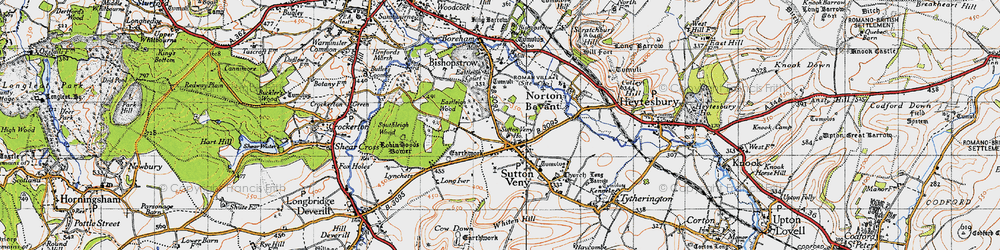 Old map of Whiten Hill in 1940