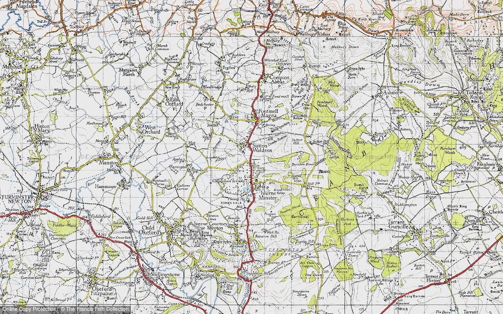 Old Map of Historic Map covering Bareden Down in 1945
