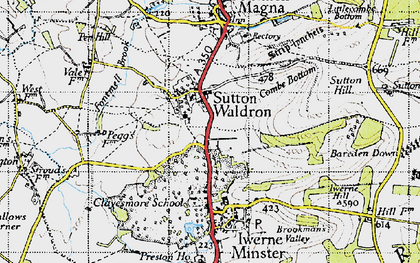 Old map of Bareden Down in 1945
